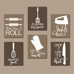 Beau KITCHEN QUOTE Wall Art Funny Utensil Pictures CANVAS By TRMdesign