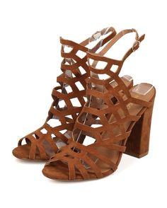 Steve madden Women Hotsoles Ferret Faux Suede Peep Toe Caged Block Heel Sandal