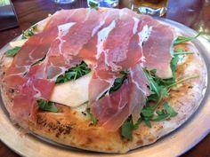 Via Naploi Restaurant serves up some delicious, authentic pizzas. Here is the Prosciutto e Melone Pizza - Individual white pizza, fontina, mozzarella, prosciutto, canteloupe, arugula