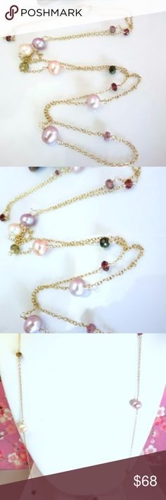 "Pink rose pearl tourmaline rosary gold necklace This is an elegant and feminine romantic rainbow tourmaline pink and peach pearl rosary gold filled necklace that is perfect to wear to work! It has a mixture of 3mm pink and green tourmaline rondelles and red garnet rondelles that alternate between larger 7mm rose pink and peach pearls. The rondelle beads are strung together with gold filled wire with my fine wire wrapping skills. The necklace is 33"" long with gold filled chain and round…"