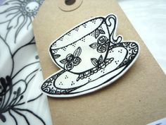 Pretty Shrink Plastic Floral Tea Cup Pin Brooch by Ink Splotch Designs on Folksy Shrink Paper, Shrink Art, Plastic Items, Plastic Craft, Shrinky Dinks, Beads And Wire, Jewelry Making, Diy Jewelry, Tea Cups