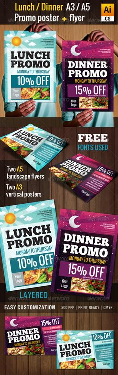 "Lunch & Dinner Promo Poster/Flyer (A3, A5)  #GraphicRiver         This is a colorful and striking two templates pack: ""A3 lunch/dinner promo poster + A5 flyer"". Poster and flyer were designed for achieving a modern and ornate presentation. 300 ppp, CMYK, ready print. Fully editable, layered. FREE FONTS USED:  ChunkFive:  .fontsquirrel /fonts/ChunkFive  Oswald:  .fontsquirrel /fonts/oswald WHAT YOU GET WITH YOUR PURCHASE:  Two A3 templates 420×297mm + 5mm bleed (1 lunch promo"