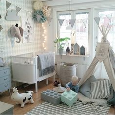 nice Cluttered wall, teepee sign, house shelves, bunting... by http://www.top21homedecorideas.xyz/kids-room-designs/cluttered-wall-teepee-sign-house-shelves-bunting/