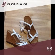 White strap wedges. Size 7 White strap. Wedges looks like cork material.  Great cure for spring fever 😜size 7 Shoes Wedges