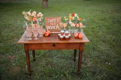 peach wedding, peach beverage station, peaches // Events by Satra // Catie Coyle Photography // Sweet + Crafty // Sweetness & Light Floral Design // Seventh Heaven Vintage Rentals Baby First Birthday, First Birthday Parties, Birthday Party Decorations, First Birthdays, Birthday Ideas, Stage Decorations, Wedding Decorations, Peach Bridal Showers, Peach Baby Shower