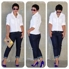 Casual Stylish Business Outfit for the Ladies Looks Plus Size, Look Plus, Mode Outfits, Fashion Outfits, Womens Fashion, Jean Outfits, Camisa Gap, Looks Jeans, Summer Outfits