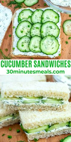 Cucumber Sandwiches are the perfect refreshing and delicious finger food. #lunch #cucumber #sandwiches Vegetarian Recipes, Cooking Recipes, Healthy Recipes, Quick Lunch Recipes, Ketogenic Recipes, Kitchen Recipes, Keto Recipes, Dinner Recipes, Lunch Snacks