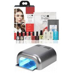 CND SHELLAC - KIT STARTER + LAMPE UV: Contenu: 1 SHELLAC base coat 7,3ml - 1 SHELLAC top coat 7,3ml - 4 SHELLAC couleurs 7,3ml au choix** - 1 NAILS PAPILLONS Huile Cuticule 15ml - 1 NAILS PAPILLONS Cleaner (dégraissant 60ml - 1 NAILS PAPILLONS Soak Off Remover (dépose) 60ml - 250 remover wraps (lingettes de dépose) - 10 limes Droites - 10 limes banana - 20 bâtonnets de buis - 1 NAILS PAPILLONS lampe UV 36W - Brochure et protocole