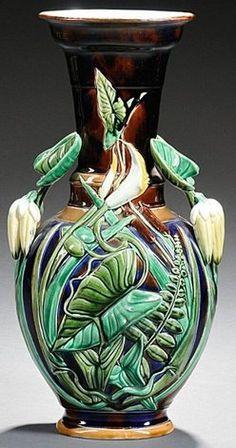 Majolica Pottery; Sarreguemines, Vase, Handled, Foliate & Reeds, Dark Blue