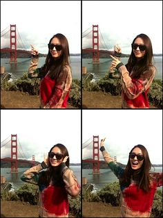 Krystal snaps a photo in front of the Golden Gate Bridge