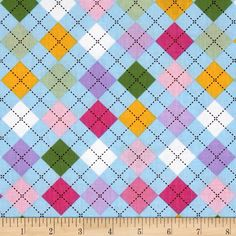 Remix Argyle Spring from @fabricdotcom  Designed by Ann Kelle for Robert Kaufman, this cotton print is perfect for quilting, apparel and home decor accents. Colors include white, brown, blue, green, yellow, pink and purple.