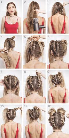 Tutorial: Space Buns - Festival Hair - Beauty tips - Frisuren Hair Looks, Hair Inspiration, Cool Hairstyles, 2 Buns Hairstyle, Easy Braided Hairstyles, Hairstyles For Medium Length Hair, Easy Medium Hairstyles, Grunge Hairstyles, Wedding Hairstyles