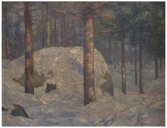 Carl Johan Nordell (American, 1885-1957), Forest in Winter, oil on canvas, signed