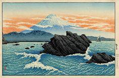 Fuji from Okitsu, 1929 by Shotei Takahashi. Shin-hanga. marina