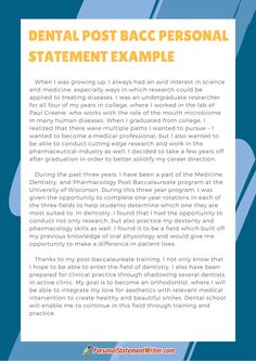 dentistry personal statement examples