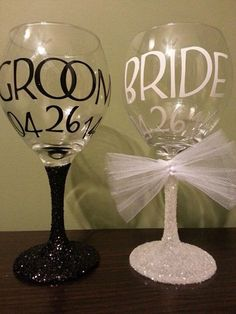 Bride & Groom Glitter Stem Wedding Wine Glasses; Bridesmaids, Mothers/Fathers of the Bride/Groom, Flower Girls; His and Hers Wedding Glasses by ByJusteenCrafts on Etsy https://www.etsy.com/listing/184150186/bride-groom-glitter-stem-wedding-wine