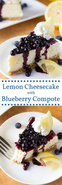 Lemon Cheesecake with Blueberry Compote Lemon Cheesecake with Blueberry Sauce. Creamy cheesecake, perfectly tangy lemon & juicy blueberry sauce - the PERFECT cheesecake flavor combo! Brownie Desserts, Oreo Dessert, Mini Desserts, Coconut Dessert, Just Desserts, Delicious Desserts, Lemon Blueberry Cheesecake, Blueberry Topping, Blueberry Compote