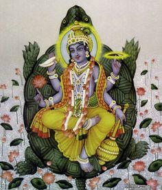 Vishnu tomando a forma de o Kurma tartaruga, seu segundo avatar.