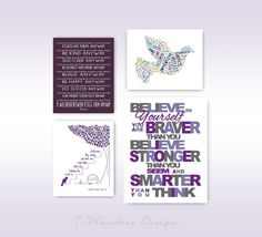 Believe In Yourself Girls Wall of Inspiration // Grey Plum Violet // Print SET of (4) - 11 x 14 and 8 x 10's Teen Girl Bedroom Modern Decor on Etsy, $65.00