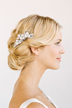 LILLIAN Rhinestone Floral Comb- bridal comb, veil comb, headpiece, wedding, flowers. $198.00, via Etsy.