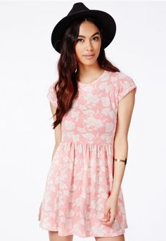 Lasla Skater Dress With Flocked Floral Detail - Dresses - Skater Dresses - Missguided