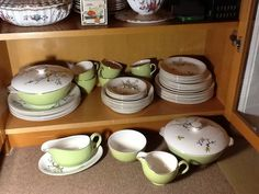 """FULL SERVICE - There are: Plates - 6 x 10"""" (1), 6 x 9"""" (1), 6 x 7.75"""" (2), Teacups Green & Gold - 6 x 3.75"""" across, Saucers - 6 x 5.5"""", Bowls 6 x 7.25"""" (1), Gravy Boat Green & Gold - 1 x 6"""" by 3"""" (1) with oval rest - 1 x 8.5"""" by 5.75"""" (1), Sugar Bowl Green & Gold - 1 x 4.75"""" (1) and Creamer Jug - 1 x 4"""".  Finally, Tureens - 2 x 7.75"""". One tureen has a crack inside & glaze has crackled on lid."""