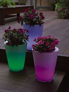 Solar illuminated planters add an unexpected glow to any patio or deck.