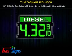 10 Inch DIESEL Gas Price LED Sign - Green LEDs with 3 Large Digits & fraction digits with housing dimension and format 8.88 9/10 comes with complete set of Control Box, Power Cable, Signal Cable & 2 RF Remote Controls (Free remote controls).