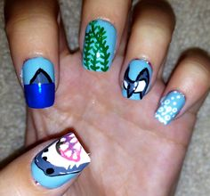 One of a kind hand painted shark nails by CompulsiveNails on Etsy, $19.00