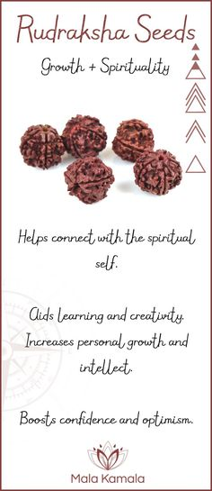 Pin To Save, Tap To Shop Rudraksha Mala Beads. What is the meaning and crystal and chakra healing properties of rudraksha seeds? A sacred material for growth and spirituality. Mala Kamala Mala Beads - Malas, Mala Beads, Mala Bracelets, Tiny Intentions, Baby Necklaces, Yoga Jewelry, Meditation Jewelry, Baltic Amber Necklaces, Gemstone Jewelry, Chakra Healing and Crystal Healing Jewelry, Mala Necklaces, Prayer Beads, Sacred Jewelry, Bohemian Boho Jewelry, Childrens and Babies Jewelry.