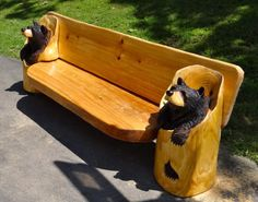 """Chainsaw Carved Black Bear Bench """"One of a Kind"""" wood carving sculpture"""