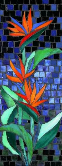 Mosaic birds of paradise Mosaic Artwork, Mosaic Wall, Mosaic Glass, Mosaic Mirrors, Stained Glass Patterns, Mosaic Patterns, Stained Glass Art, Mosaic Birds, Mosaic Flowers