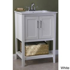 Ceramic-top 24-inch Single Sink Bathroom Vanity and Basket | Overstock.com Shopping - Great Deals on Bathroom Vanities $359.99