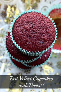 Eggless Red Velvet Cupcakes with Beets – Cookilicious – Eggless Red Velvet Cupcakes with no artificial color but made with beetroot puree. These cupcakes are delicious & the recipe is fail proof. Valentine's Day special! Cupcake Recipes, Baking Recipes, Cupcake Cakes, Dessert Recipes, Eggless Recipes, Red Velvet Cupcakes, Eggless Baking, Vegan Baking, Vegan Cake