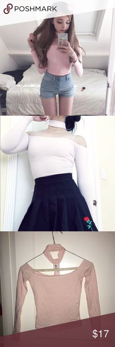 Pink American apparel off shoulder choker top Worn once, but a littl too small for me. Willing to trade for a Small in the same color! American Apparel Tops Crop Tops
