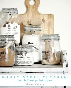 Magic Decal Tutorial - with free printables | The Painted Hive- to print onto keepsakes or mason jars for decor