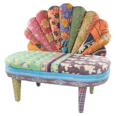Multicolor peacock loveseat with a mango wood frame and scalloped back. Made with reclaimed vintage kantha throws.  Product: Lov...