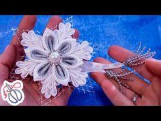 Снежинка канзаши /Как сделать снежинку из лент /Snowflake Christmas decorations DIY - YouTube