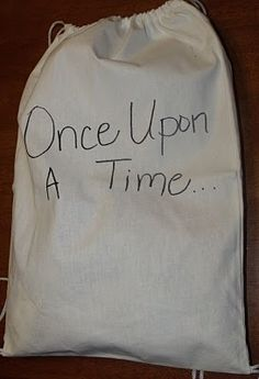 I ADORE THIS IDEA!!! Put some objects in the bag, and let kids pull one out to tell the next part of the story! Some kids would REALLY look forward to this!
