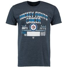 Winnipeg Jets Old Time Hockey 2015 Hockey Fights Cancer Crowell T-Shirt - Navy - $23.99