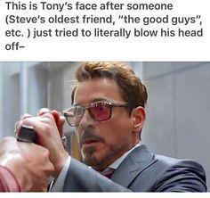 Guys . . . Bucky LITERALLY tried to shoot Tony's head off.......