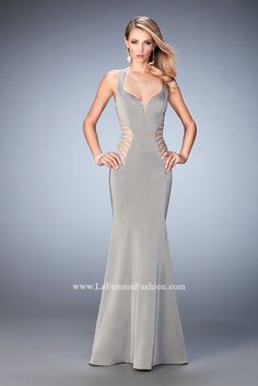You are sure to feel glamorous and beautiful in La Femme Style #22742 available at Whatchamacallit Boutique