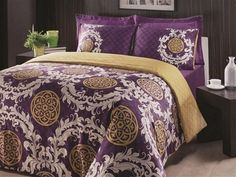 loving purple master bedding with dark sheets