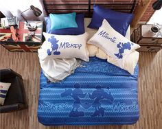 Mickey Minnie Mouse 3D Printed Bedding Sets for Boys Bedroom Decor Cotton Bedspread Quilt Duvet Covers Twin Full Queen Size Blue
