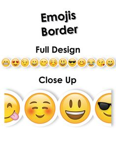 Social media lovers will LUV this Emoji border! Sweet and silly emoji faces will bring a bit of digital-inspired fun to bulletin boards.