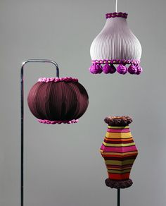 Upcycled sweater lamps.  Adorable!