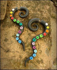 Fake gauge long fake gaugetribal earrings rainbow by SweetlyART, $24.00