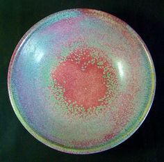 """Harding Black Pottery Turquoise & Red Bowl 1960. A Classic piece of Harding Black pottery with a Turquoise and Red mottled glaze. Incised mark on the base, """"Harding Black 1960"""" """"DRC AH8"""" Diameter 6 ¾ inches, height 2 inches. Excellent condition with no chips or cracks. Sold on Ebay in 2013 for $405.00."""