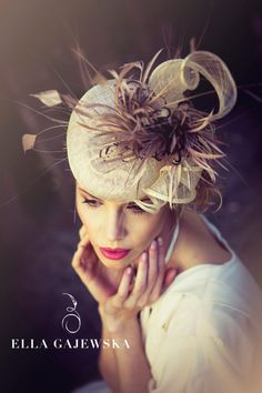 Natural Elegant Wedding Accessory Straw by Ella Gajewska HATS