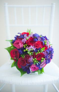 Vermont Wedding Style: royal blue; red; lilac; pink / fuschia; & lime green